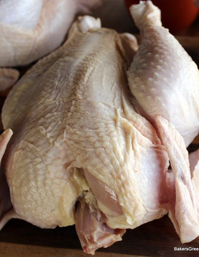 GMO free, free range, pasture raised whole chicken