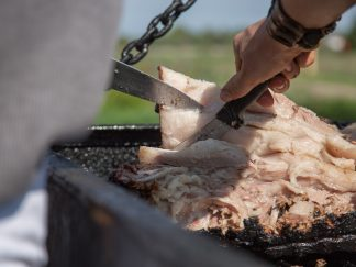 GMO free Mangalitsa pork on the BBQ grill