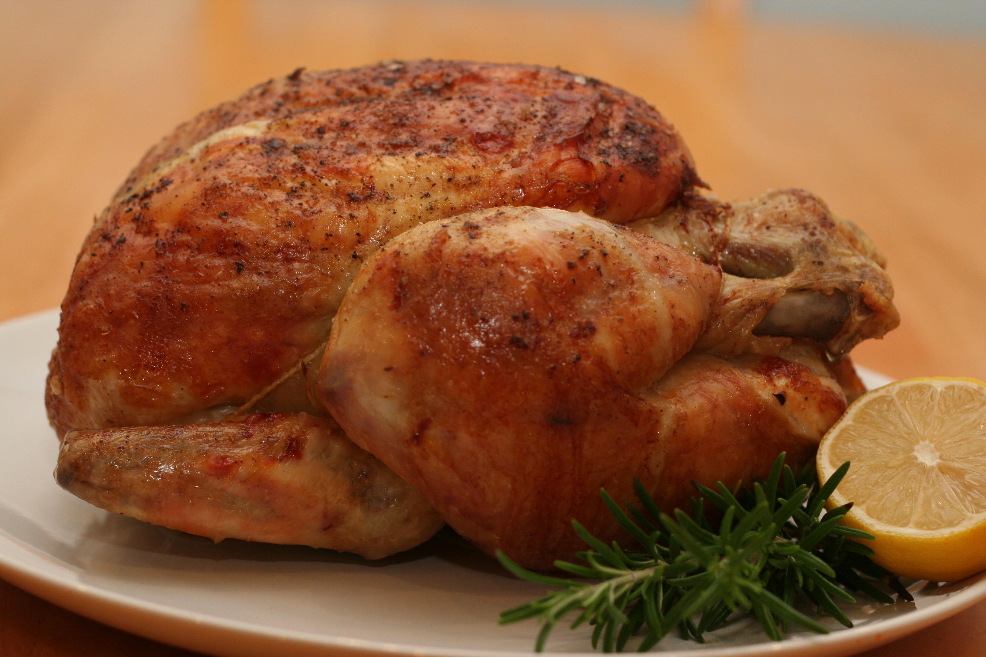 Roasted free range, grass fed, beyond organic whole chicken.